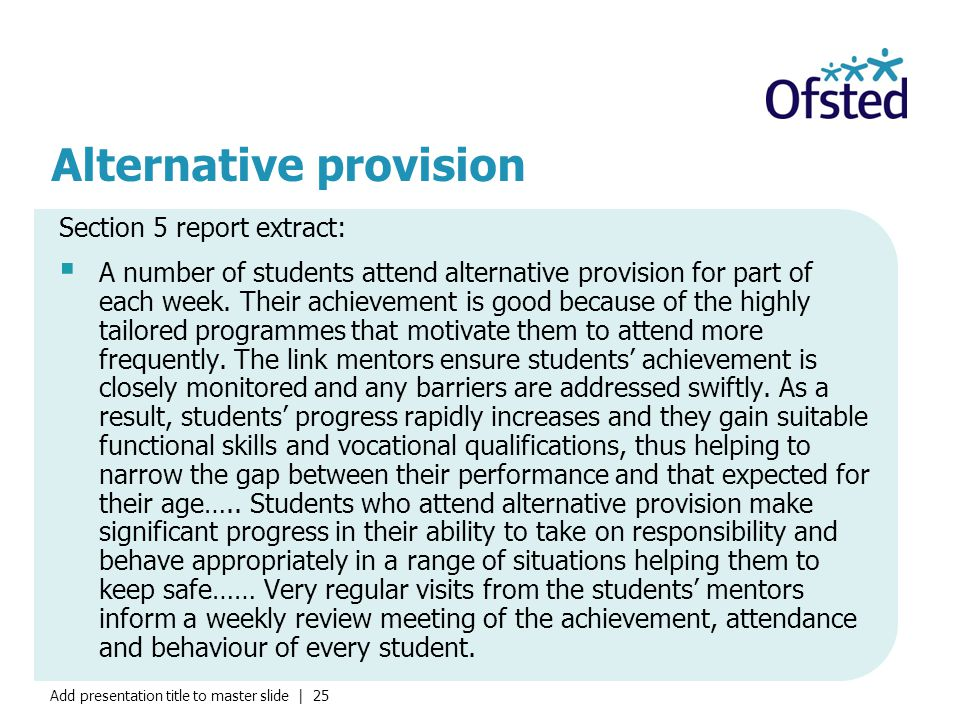 Add presentation title to master slide | 25 Alternative provision Section 5 report extract:  A number of students attend alternative provision for part of each week.