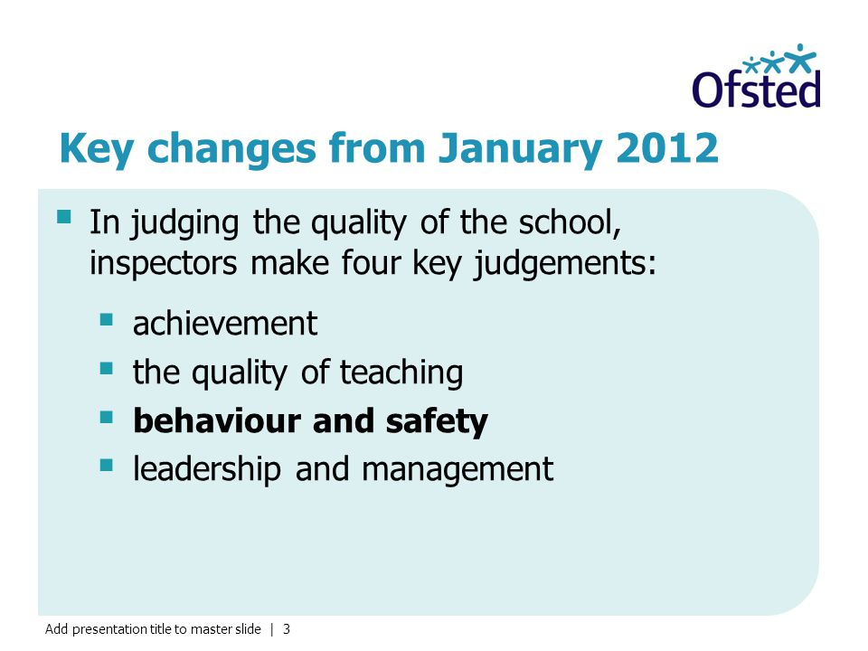 Add presentation title to master slide | 3 Key changes from January 2012  In judging the quality of the school, inspectors make four key judgements:  achievement  the quality of teaching  behaviour and safety  leadership and management