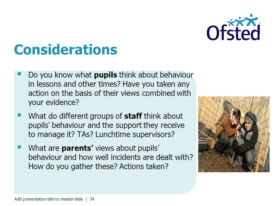 Add presentation title to master slide | 34 Considerations  Do you know what pupils think about behaviour in lessons and other times.