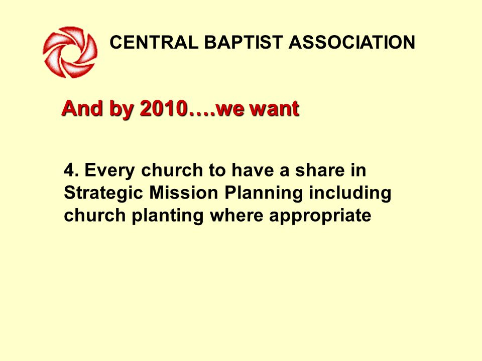 CENTRAL BAPTIST ASSOCIATION And by 2010….we want 4.