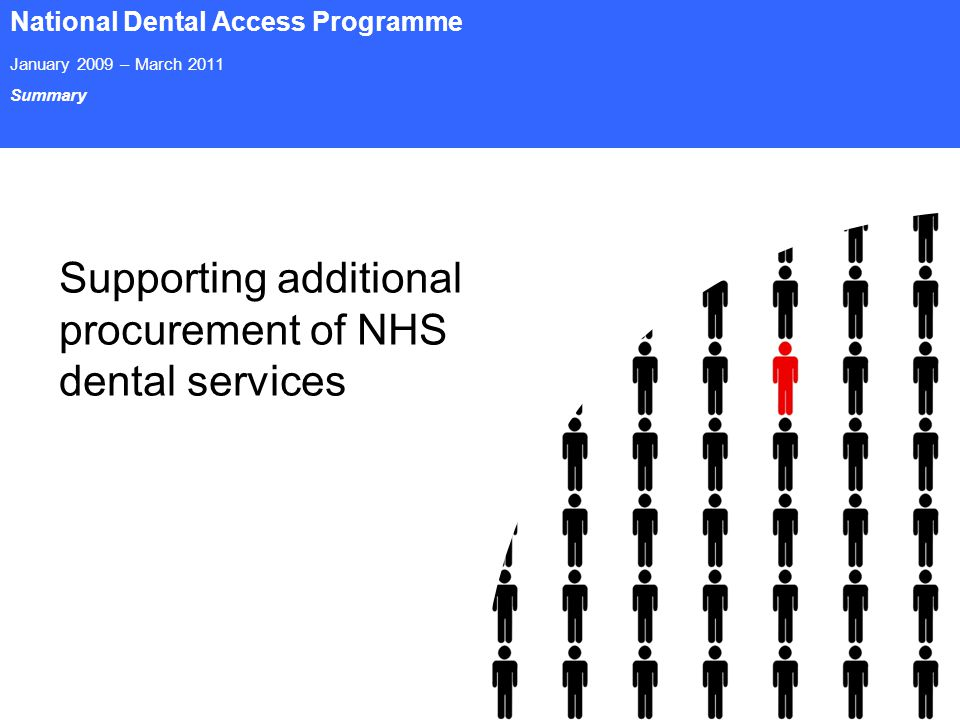 Page 16 National Dental Access Programme January 2009 – March 2011 Summary Supporting additional procurement of NHS dental services