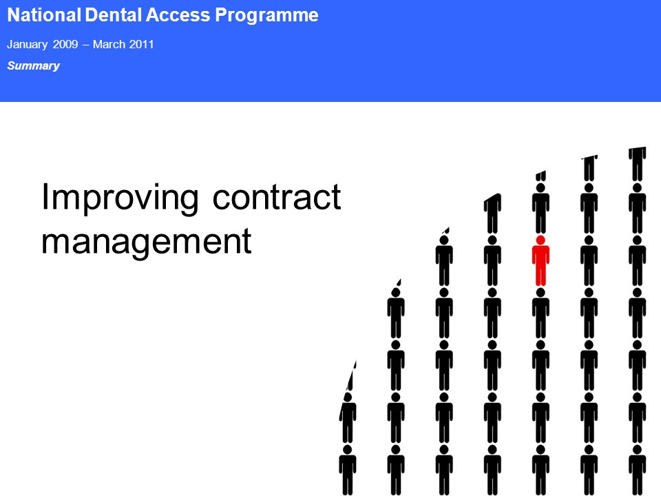 Page 20 National Dental Access Programme January 2009 – March 2011 Summary Improving contract management