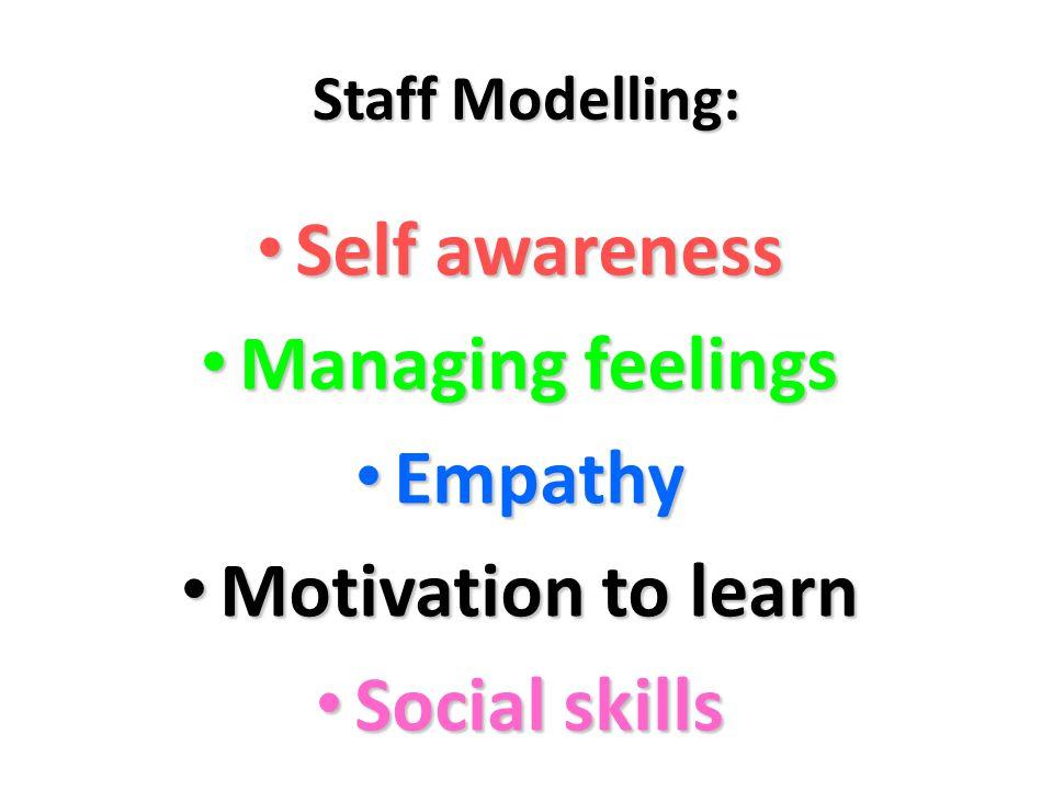 Staff Modelling: Self awareness Self awareness Managing feelings Managing feelings Empathy Empathy Motivation to learn Motivation to learn Social skills Social skills