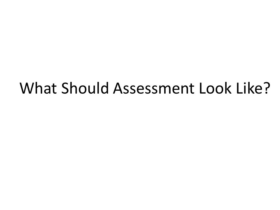 What Should Assessment Look Like?
