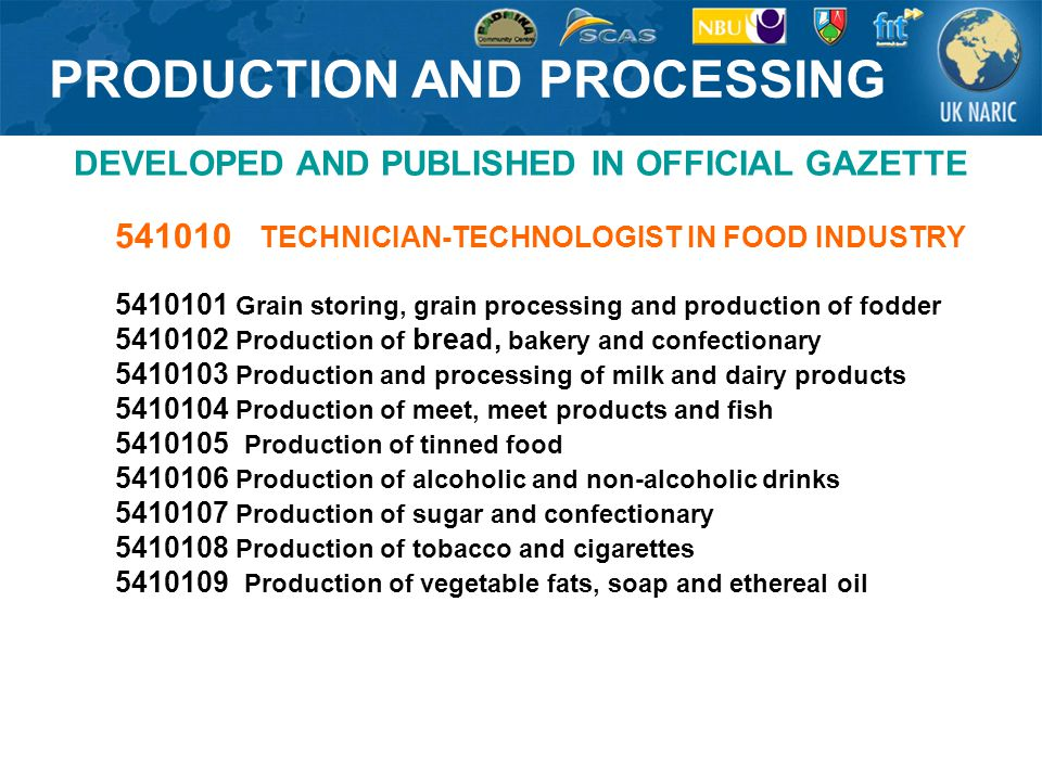 PRODUCTION AND PROCESSING DEVELOPED AND PUBLISHED IN OFFICIAL GAZETTE 541010 TECHNICIAN-TECHNOLOGIST IN FOOD INDUSTRY 5410101 Grain storing, grain processing and production of fodder 5410102 Production of bread, bakery and confectionary 5410103 Production and processing of milk and dairy products 5410104 Production of meet, meet products and fish 5410105 Production of tinned food 5410106 Production of alcoholic and non-alcoholic drinks 5410107 Production of sugar and confectionary 5410108 Production of tobacco and cigarettes 5410109 Production of vegetable fats, soap and ethereal oil