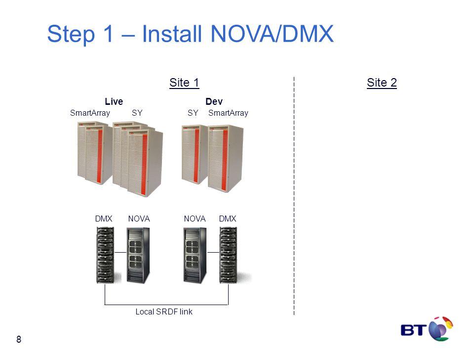 8 Site 2 DMX SmartArraySY SmartArray DevLive Site 1 NOVA DMX Local SRDF link Step 1 – Install NOVA/DMX