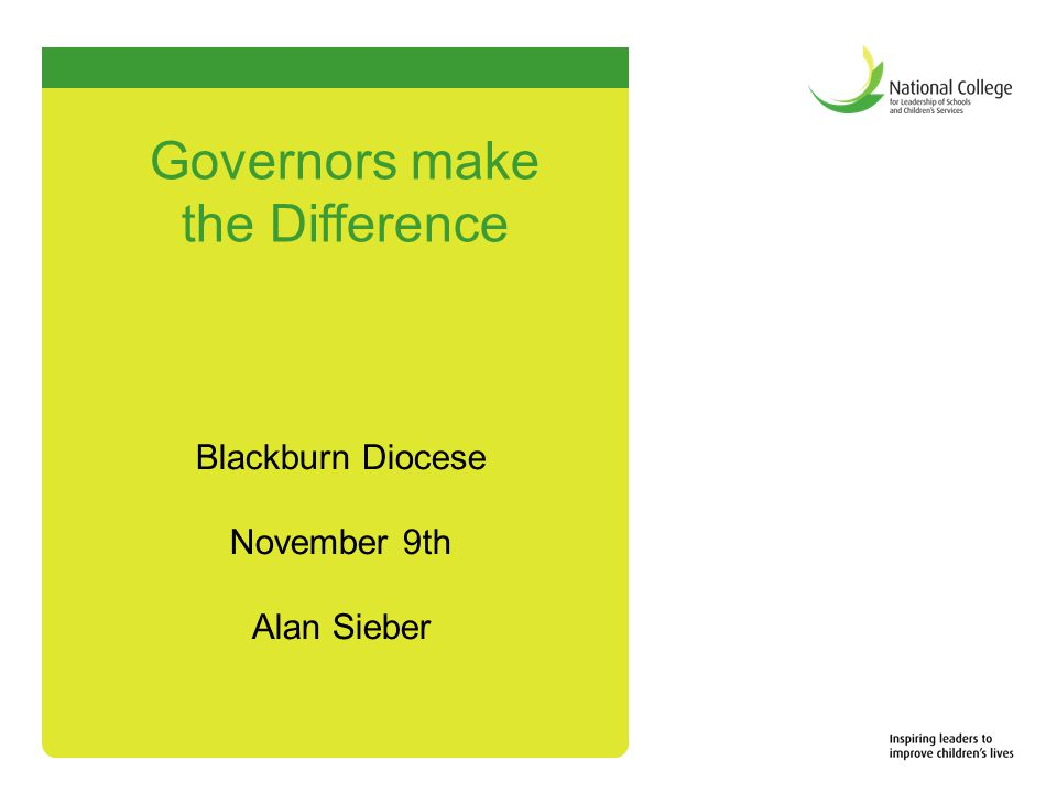 Blackburn Diocese November 9th Alan Sieber Governors make the Difference
