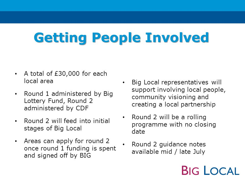 B IG L OCAL A total of £30,000 for each local area Round 1 administered by Big Lottery Fund, Round 2 administered by CDF Round 2 will feed into initial stages of Big Local Areas can apply for round 2 once round 1 funding is spent and signed off by BIG Big Local representatives will support involving local people, community visioning and creating a local partnership Round 2 will be a rolling programme with no closing date Round 2 guidance notes available mid / late July Getting People Involved