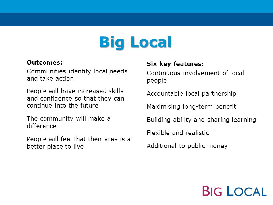 B IG L OCAL 10 year programme Community driven Builds on local talents and aspirations Creates changes that will last Better places to live now and in the future What is Big Local.