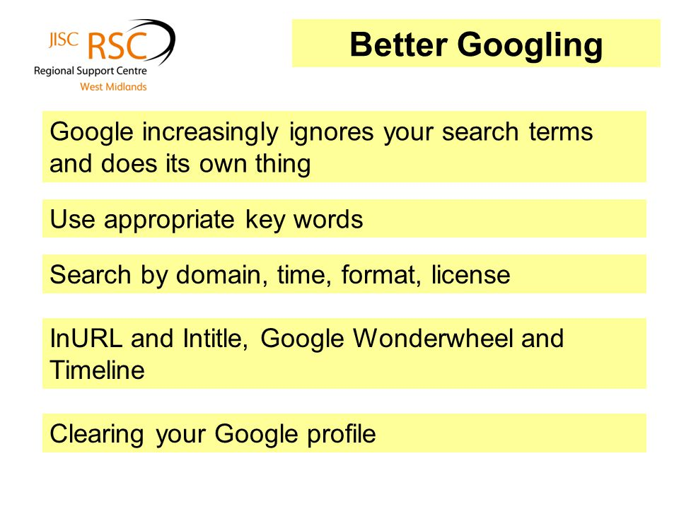 Better Googling Google increasingly ignores your search terms and does its own thing Search by domain, time, format, license Use appropriate key words