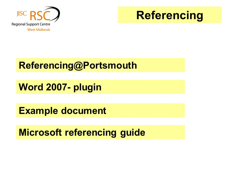 Word 2007- plugin Example document Referencing@Portsmouth Microsoft referencing guide Referencing