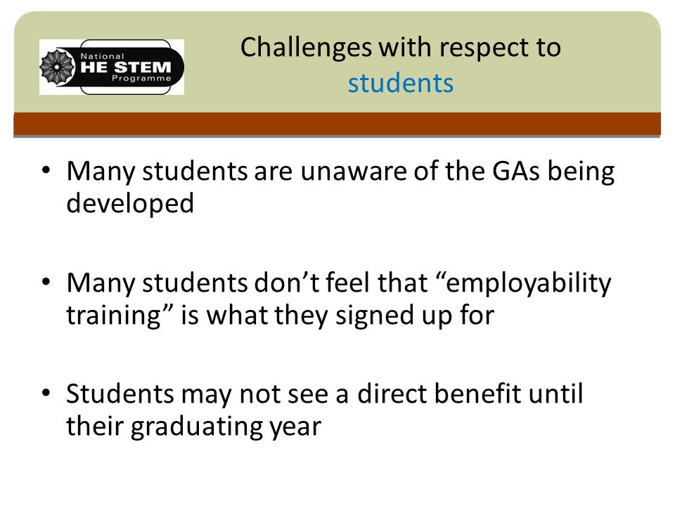 Click to edit Master title style Many students are unaware of the GAs being developed Many students don't feel that employability training is what they signed up for Students may not see a direct benefit until their graduating year Challenges with respect to students