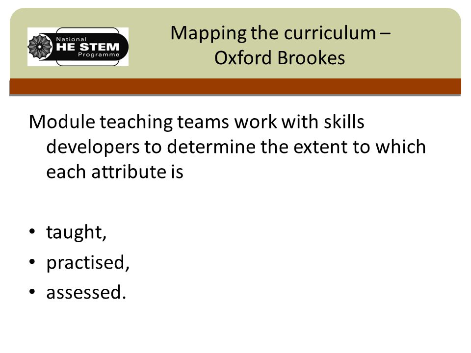 Click to edit Master title style Module teaching teams work with skills developers to determine the extent to which each attribute is taught, practised, assessed.