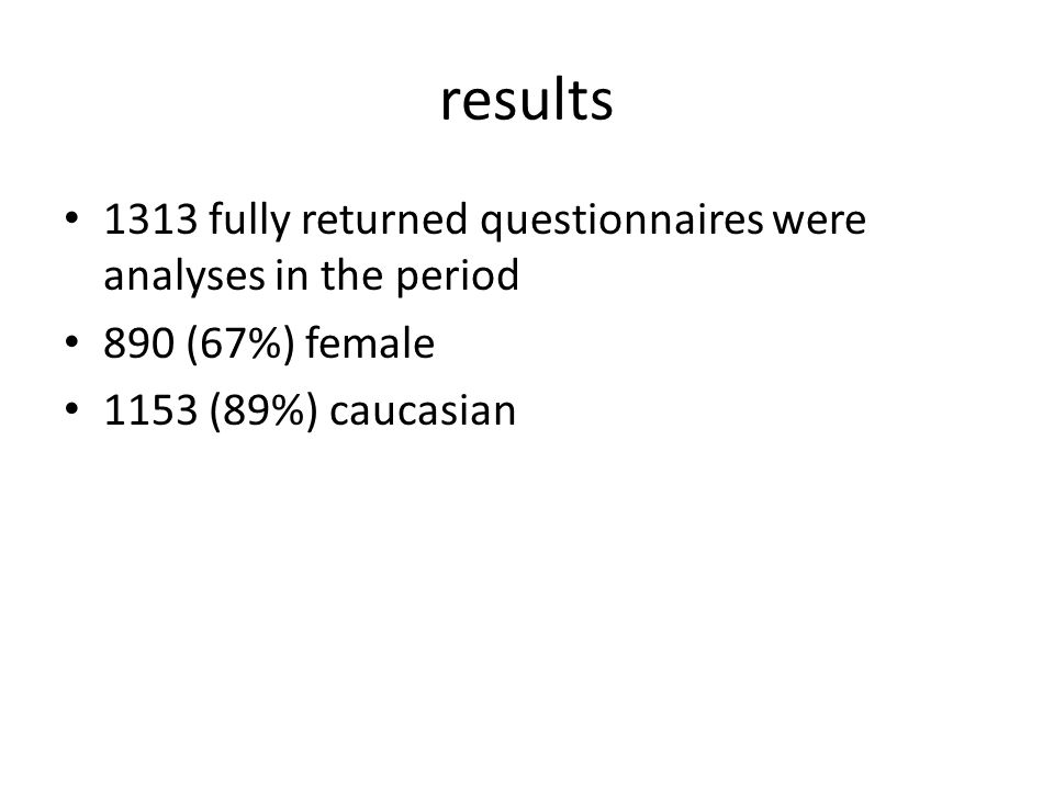 results 1313 fully returned questionnaires were analyses in the period 890 (67%) female 1153 (89%) caucasian