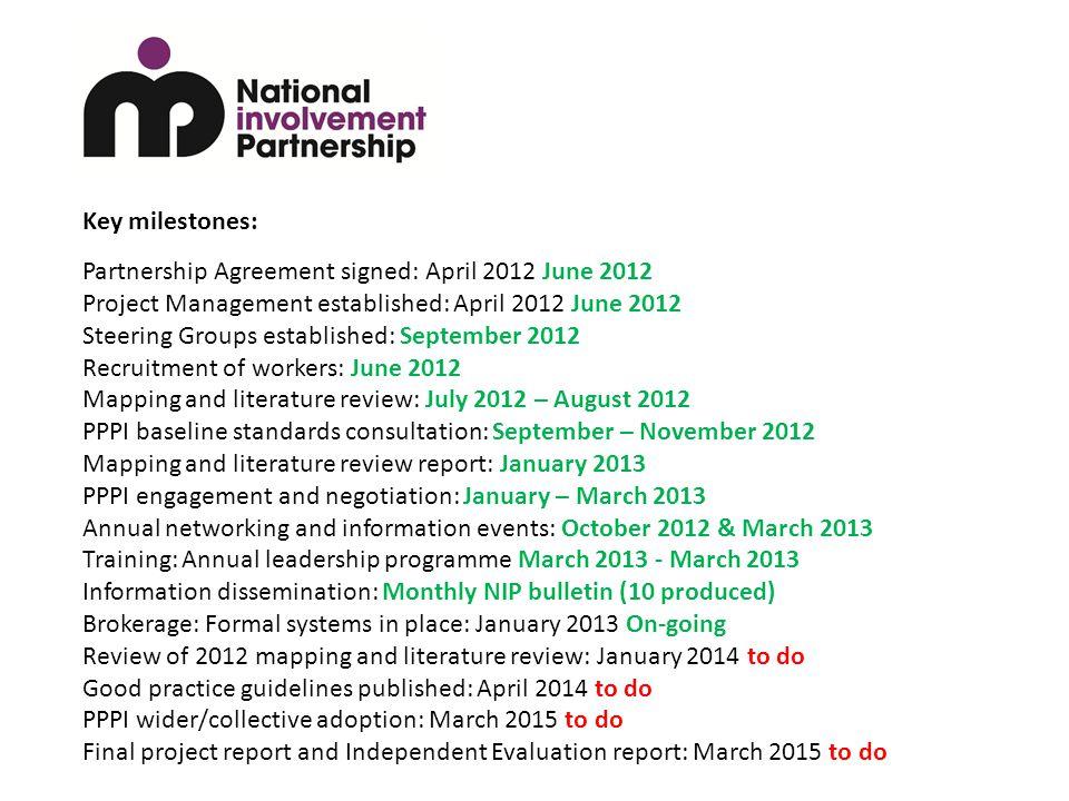 Key milestones: Partnership Agreement signed: April 2012 June 2012 Project Management established: April 2012 June 2012 Steering Groups established: S