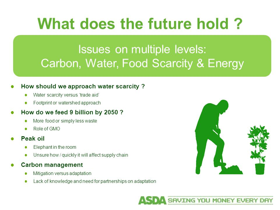 Issues on multiple levels: Carbon, Water, Food Scarcity & Energy What does the future hold .