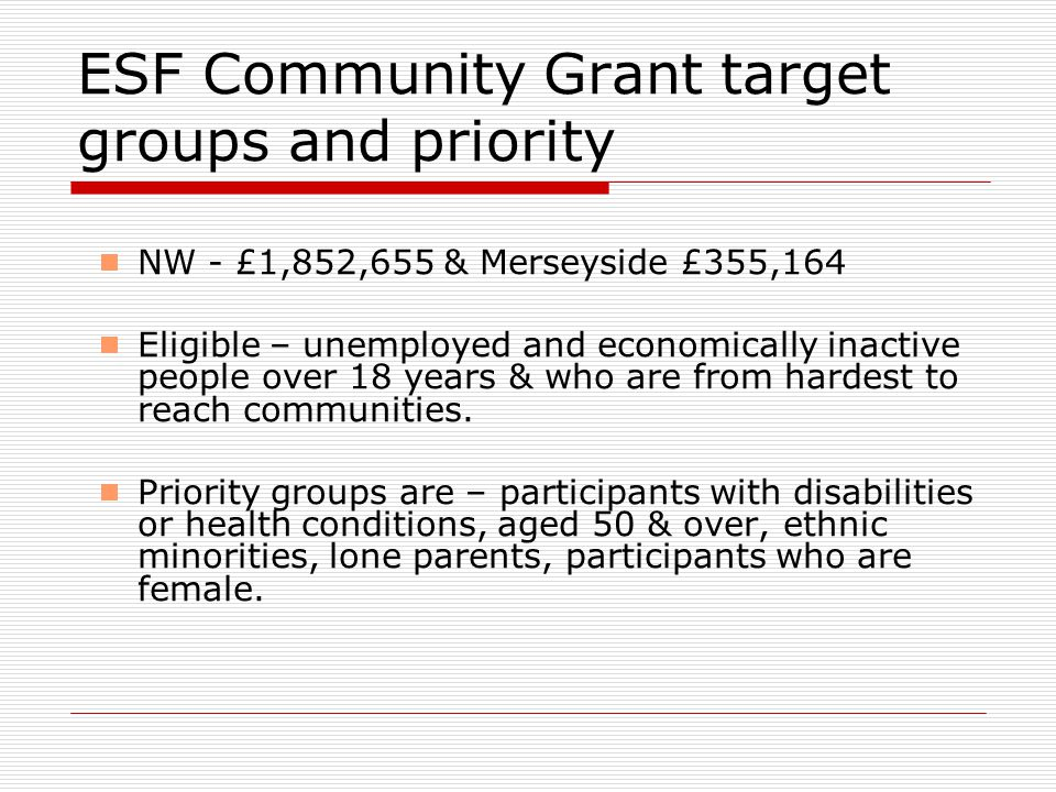 ESF Community Grant target groups and priority  NW - £1,852,655 & Merseyside £355,164  Eligible – unemployed and economically inactive people over 18 years & who are from hardest to reach communities.
