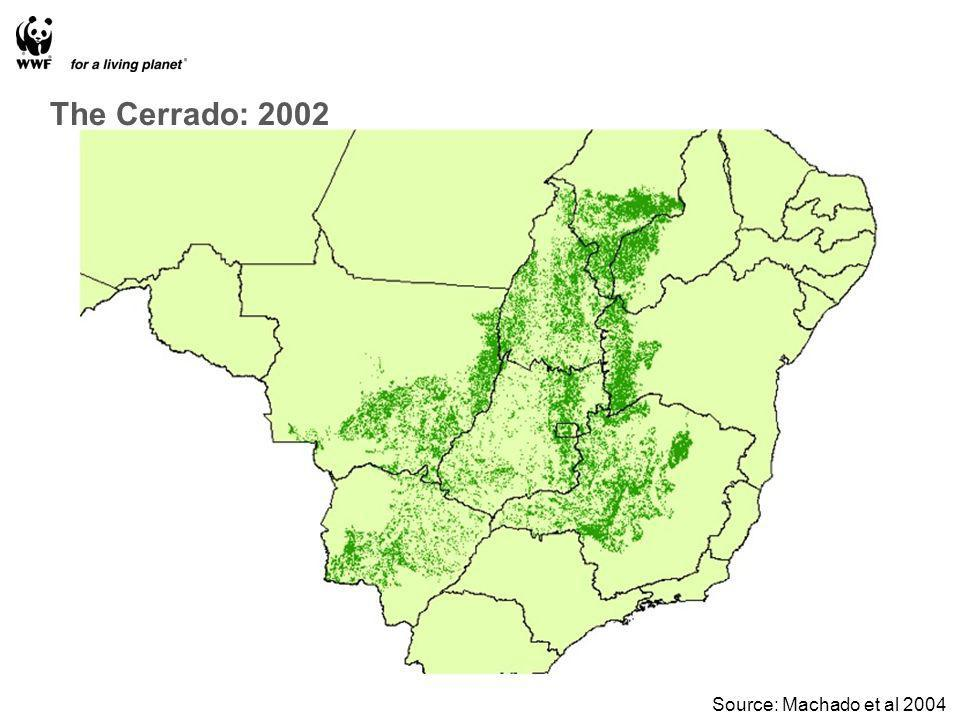 The Cerrado: 2002 Source: Machado et al 2004
