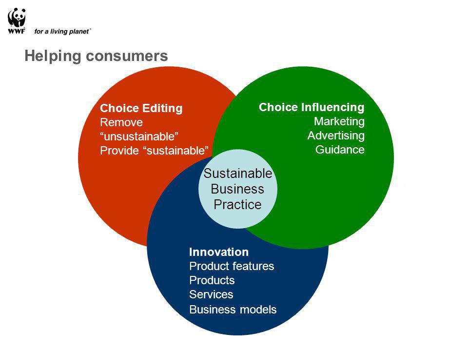 Choice Editing Remove unsustainable Provide sustainable Innovation Product features Products Services Business models Choice Influencing Marketing Advertising Guidance Sustainable Business Practice Helping consumers