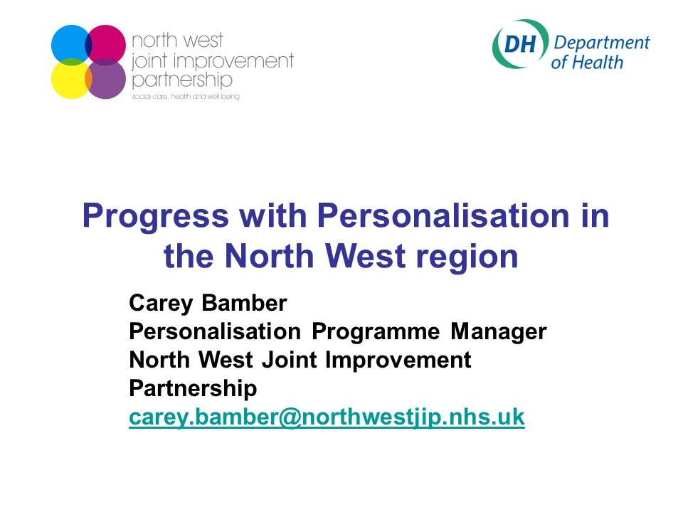 Progress with Personalisation in the North West region Carey Bamber Personalisation Programme Manager North West Joint Improvement Partnership carey.bamber@northwestjip.nhs.uk