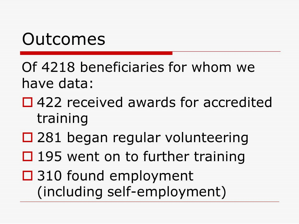Outcomes Of 4218 beneficiaries for whom we have data:  422 received awards for accredited training  281 began regular volunteering  195 went on to further training  310 found employment (including self-employment)