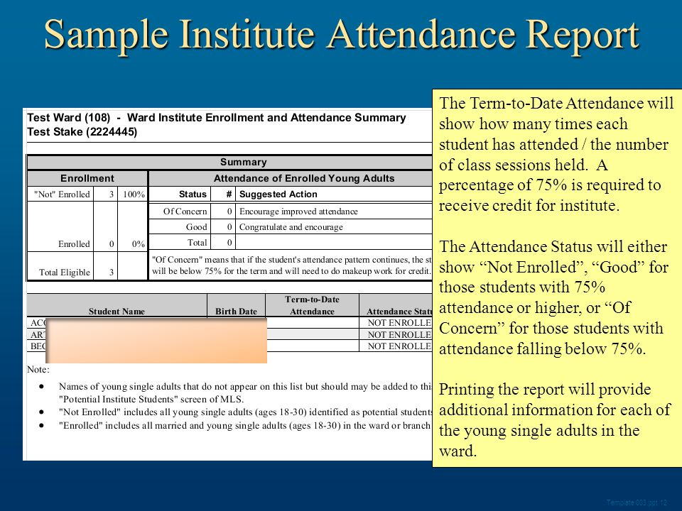 Sample Institute Attendance Report Template 003.ppt 12 The Term-to-Date Attendance will show how many times each student has attended / the number of class sessions held.