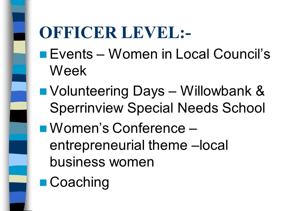 OFFICER LEVEL:- Events – Women in Local Council's Week Volunteering Days – Willowbank & Sperrinview Special Needs School Women's Conference – entrepreneurial theme –local business women Coaching