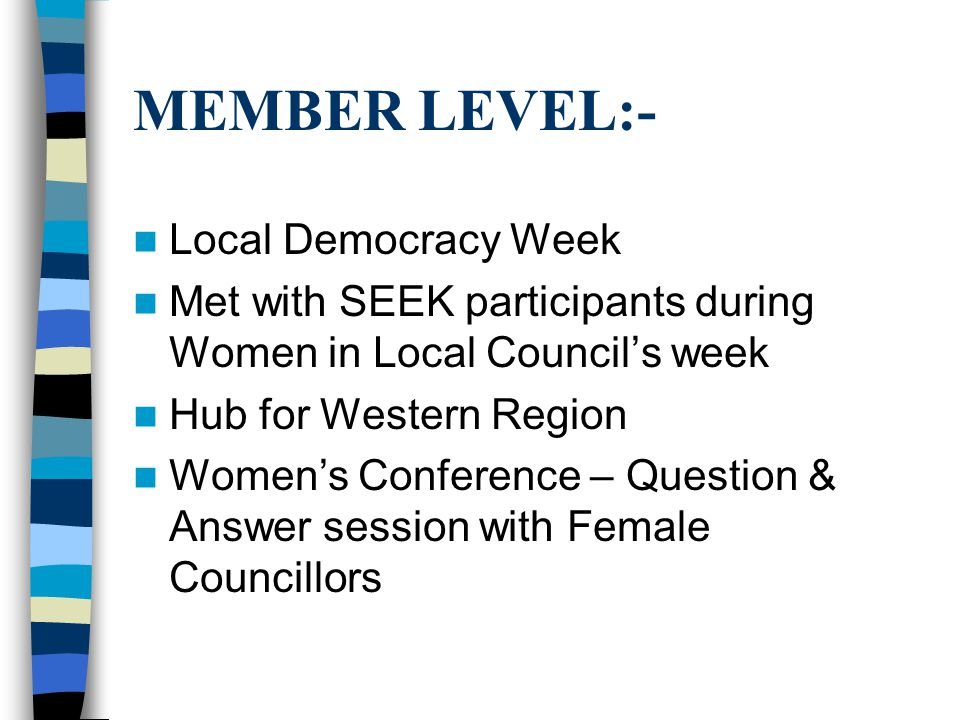 MEMBER LEVEL:- Local Democracy Week Met with SEEK participants during Women in Local Council's week Hub for Western Region Women's Conference – Question & Answer session with Female Councillors