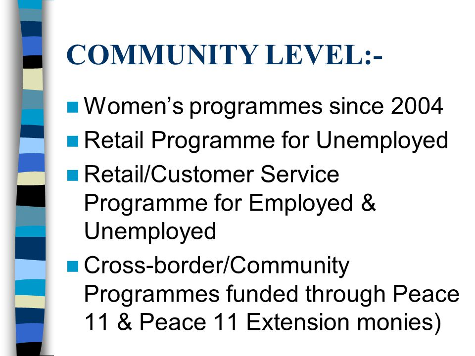 COMMUNITY LEVEL:- Women's programmes since 2004 Retail Programme for Unemployed Retail/Customer Service Programme for Employed & Unemployed Cross-border/Community Programmes funded through Peace 11 & Peace 11 Extension monies)