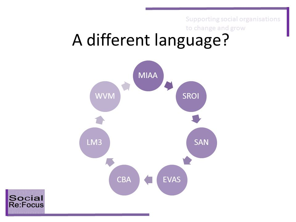 Supporting social organisations to change and grow A different language? MIAASROISANEVASCBALM3WVM