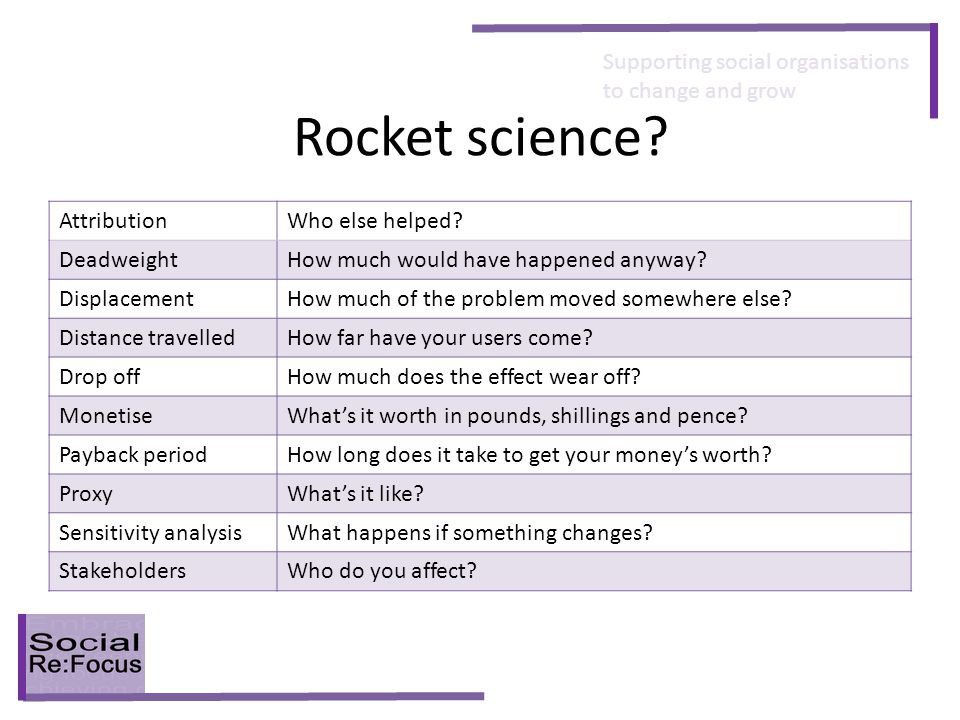 Supporting social organisations to change and grow Rocket science.