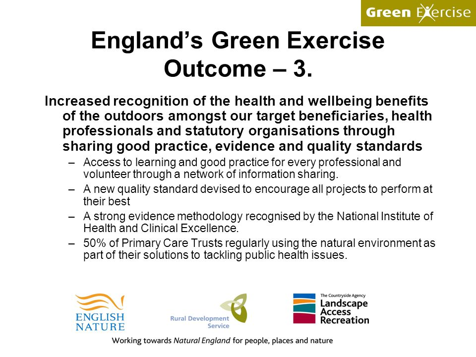 England's Green Exercise Outcome – 3.