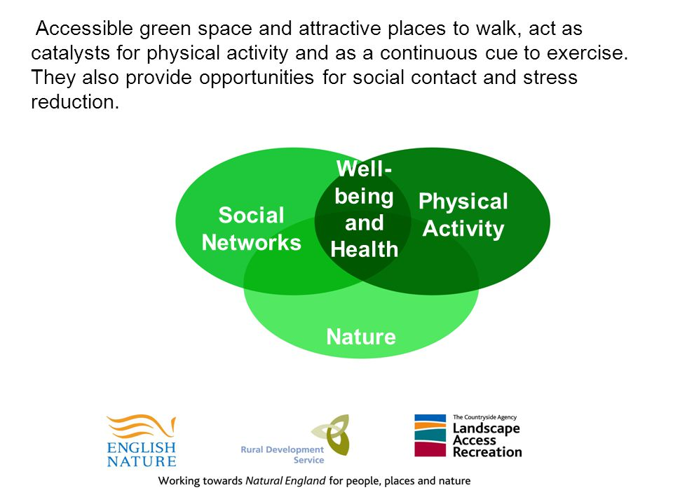 Accessible green space and attractive places to walk, act as catalysts for physical activity and as a continuous cue to exercise.
