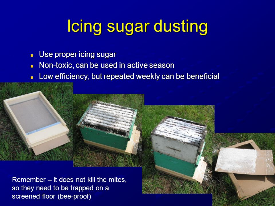 Icing sugar dusting Use proper icing sugar Use proper icing sugar Non-toxic, can be used in active season Non-toxic, can be used in active season Low efficiency, but repeated weekly can be beneficial Low efficiency, but repeated weekly can be beneficial Remember – it does not kill the mites, so they need to be trapped on a screened floor (bee-proof)