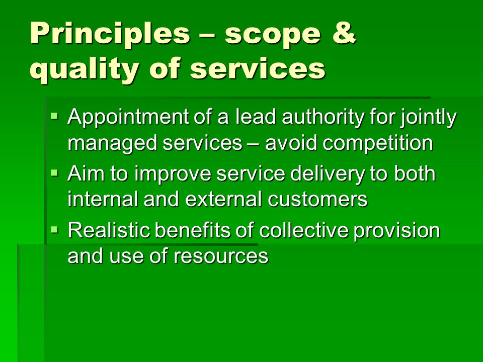 Principles – scope & quality of services  Appointment of a lead authority for jointly managed services – avoid competition  Aim to improve service delivery to both internal and external customers  Realistic benefits of collective provision and use of resources