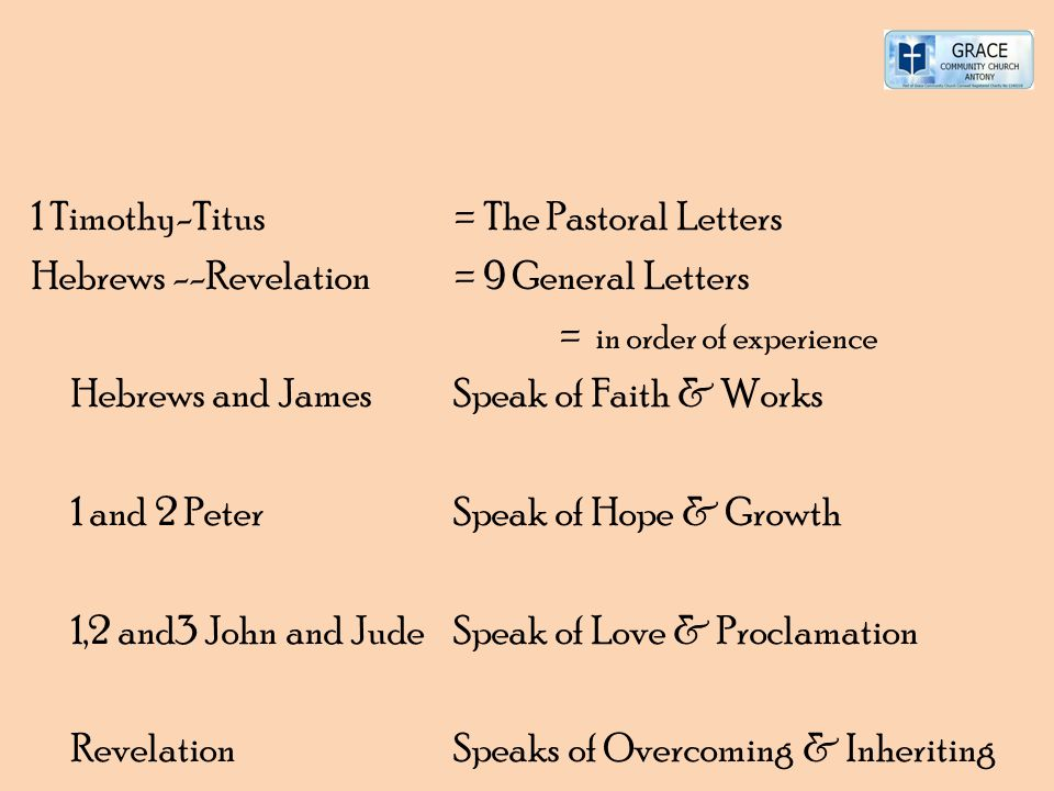 1 Timothy-Titus = The Pastoral Letters Hebrews --Revelation = 9 General Letters = in order of experience Hebrews and James Speak of Faith & Works 1 an