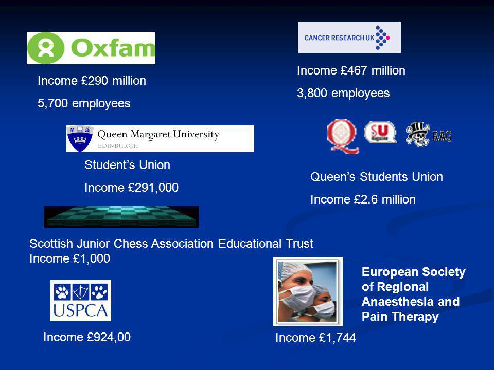Income £290 million 5,700 employees Income £467 million 3,800 employees Student's Union Income £291,000 European Society of Regional Anaesthesia and Pain Therapy Income £1,744 Income £924,00 Queen's Students Union Income £2.6 million Scottish Junior Chess Association Educational Trust Income £1,000