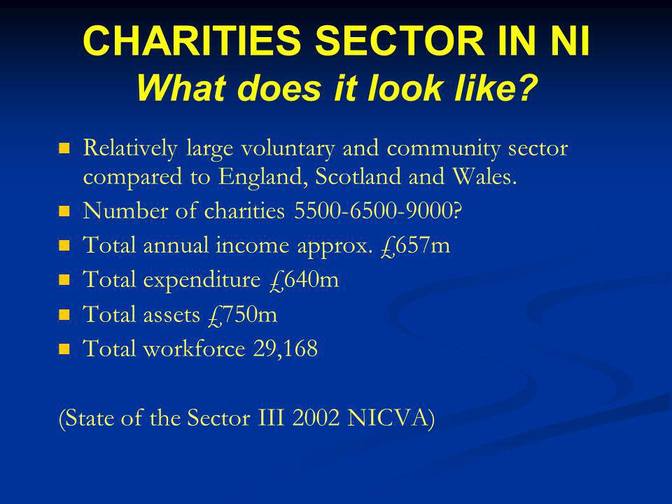 CHARITIES SECTOR IN NI What does it look like.