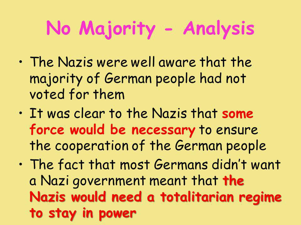 No Majority - Analysis The Nazis were well aware that the majority of German people had not voted for them It was clear to the Nazis that some force would be necessary to ensure the cooperation of the German people the Nazis would need a totalitarian regime to stay in powerThe fact that most Germans didn't want a Nazi government meant that the Nazis would need a totalitarian regime to stay in power
