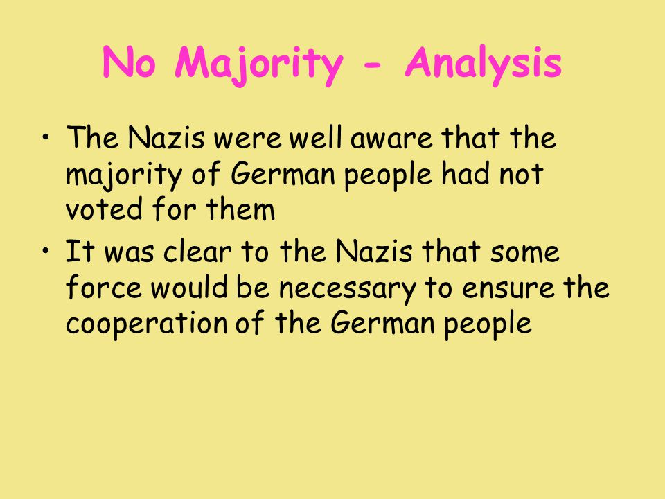 No Majority - Analysis The Nazis were well aware that the majority of German people had not voted for them It was clear to the Nazis that some force would be necessary to ensure the cooperation of the German people