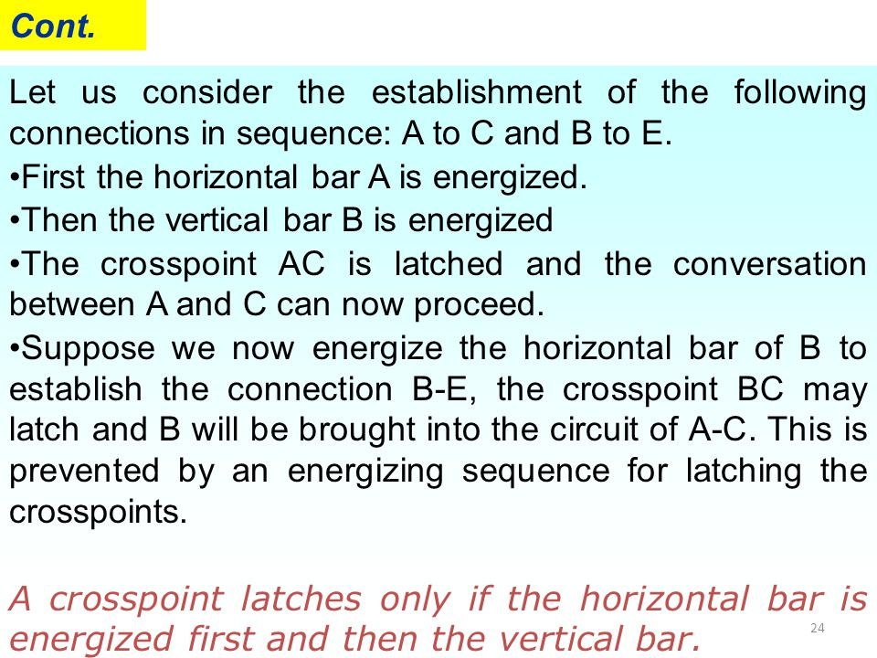 24 Let us consider the establishment of the following connections in sequence: A to C and B to E. First the horizontal bar A is energized. Then the ve