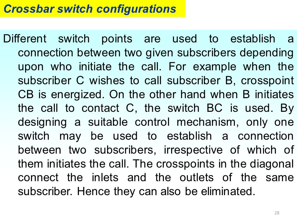 28 Crossbar switch configurations Different switch points are used to establish a connection between two given subscribers depending upon who initiate