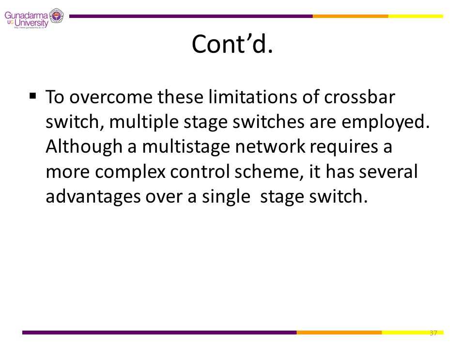 37 Cont'd.  To overcome these limitations of crossbar switch, multiple stage switches are employed. Although a multistage network requires a more com
