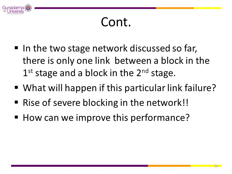 50 Cont.  In the two stage network discussed so far, there is only one link between a block in the 1 st stage and a block in the 2 nd stage.  What w