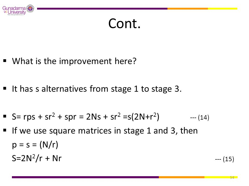 54 Cont.  What is the improvement here?  It has s alternatives from stage 1 to stage 3.  S= rps + sr 2 + spr = 2Ns + sr 2 =s(2N+r 2 ) --- (14)  If
