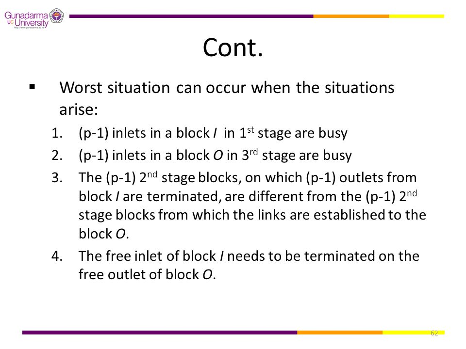 62 Cont.  Worst situation can occur when the situations arise: 1.(p-1) inlets in a block I in 1 st stage are busy 2.(p-1) inlets in a block O in 3 rd