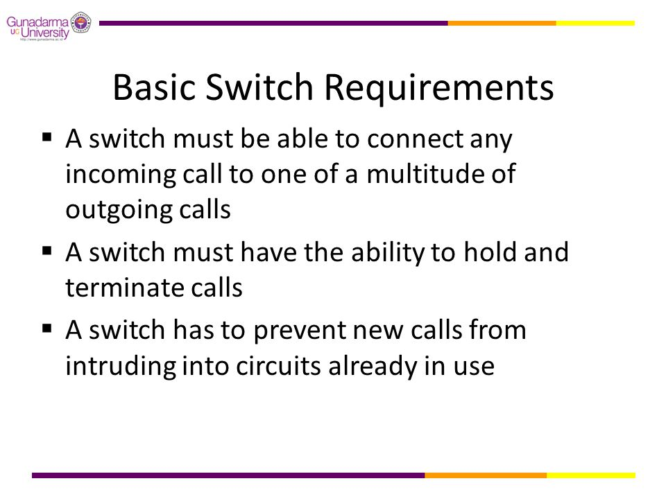 Basic Switch Requirements  A switch must be able to connect any incoming call to one of a multitude of outgoing calls  A switch must have the abilit