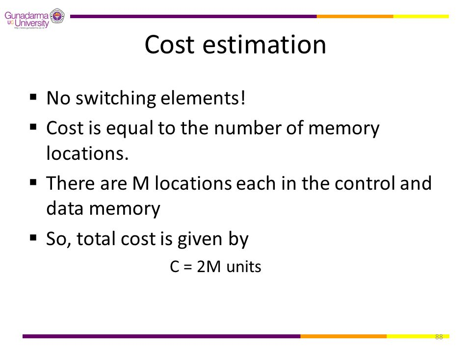 88 Cost estimation  No switching elements!  Cost is equal to the number of memory locations.  There are M locations each in the control and data me
