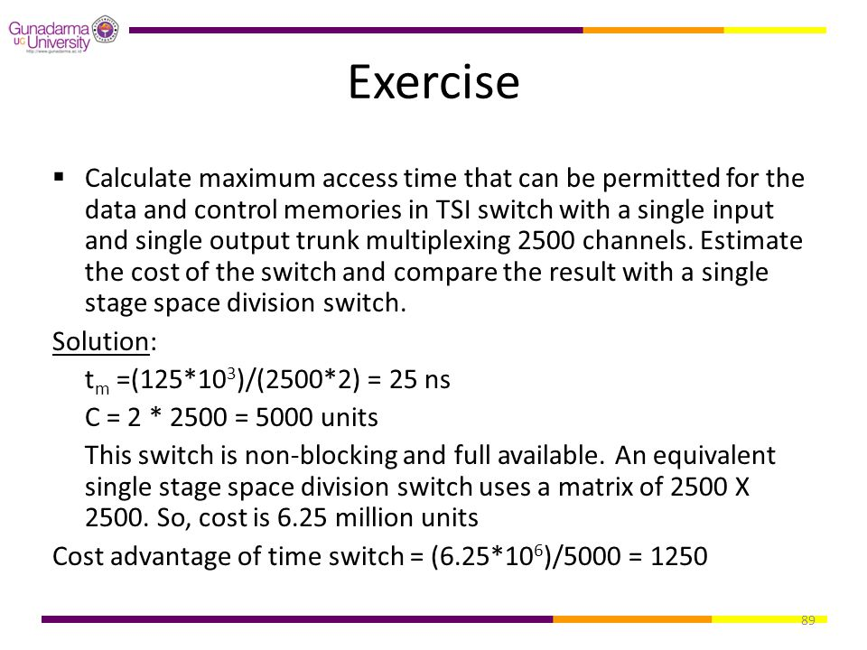 89 Exercise  Calculate maximum access time that can be permitted for the data and control memories in TSI switch with a single input and single outpu