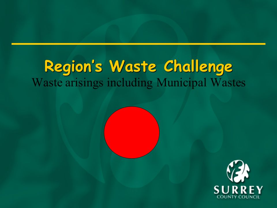 Region's Waste Challenge Waste arisings including Municipal Wastes